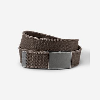 Men's Web Plaque Belt in Beige