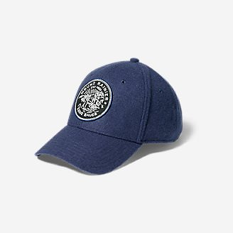 Wool-Blend Graphic Cap in Blue
