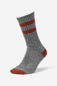Men's Crew Socks - Marled Stripe in Brown