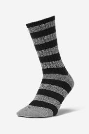 Men's Crew Socks - Marled Stripe in Black