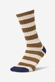 Men's Crew Socks - Marled Stripe in Blue