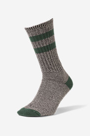 Men's Crew Socks - Marled Stripe in Green