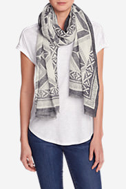 Women's Oversized Woven Rectangluar Wrap - Printed in White