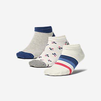 Women's Low-Profile Patterned Socks - 3-Pack in White
