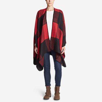 Women's Vesper Blanket Shawl - Plaid in Red