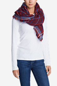 Women's Blakely Plaid Blanket Scarf in Red