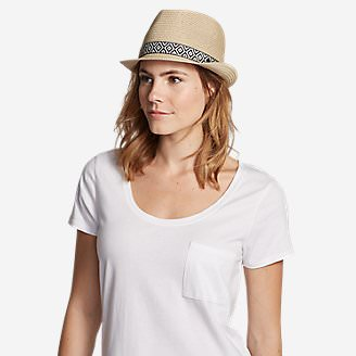Women's Ravenna Straw Fedora Hat in White