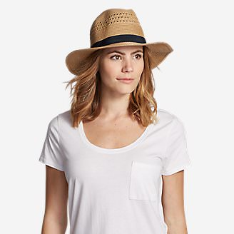 Women's Panama Packable Straw Hat in White