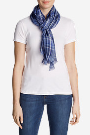 Women's Shoreline Plaid Scarf in Blue