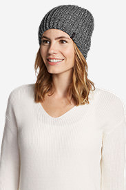 Women's Crescent Knit Beanie in Black