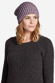 Women's Crescent Knit Beanie in Purple