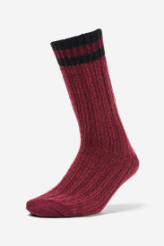 Women's Merino Wool Ragg Crew Socks in Red