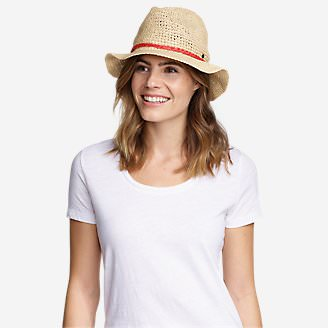 Women's Packable Straw Hat - Medium Brim in White