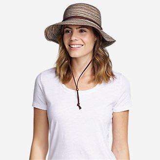 Women's Packable Straw Hat - Wide Brim in Brown