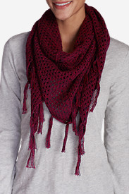 Women's Open Stitch Triangle Scarf in Red