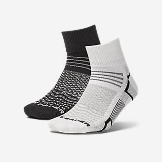 Women's Active Pro COOLMAX Quarter Crew Socks - 2 Pack in Black
