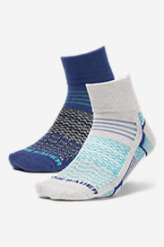 Women's Active Pro COOLMAX Quarter Crew Socks - 2 Pack in Blue