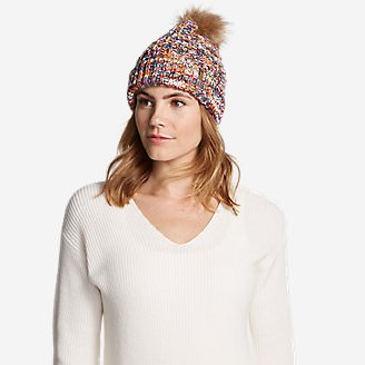 Women's Cabin Faux Fur Pom Beanie in Multi