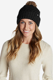 Women's Cabin Faux Fur Pom Beanie in Black