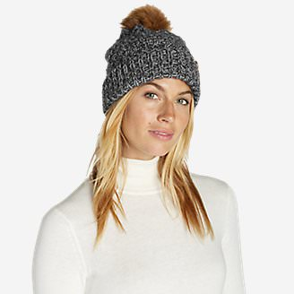 Women's Cabin Faux Fur Pom Beanie in Gray
