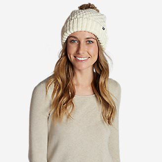 Women's Cabin Faux Fur Pom Beanie in White