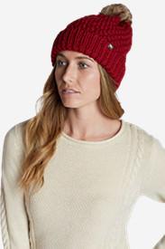 Women's Cabin Faux Fur Pom Beanie in Red