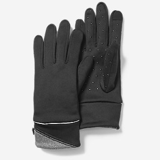 Women's Crossover Fleece Touchscreen Gloves in Black