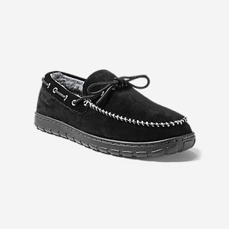 Men's Shearling-Lined Moccasin Slipper in Black