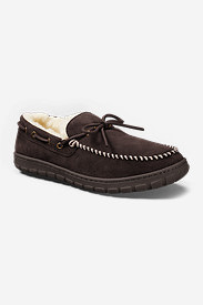Men's Shearling-Lined Moccasin Slipper in Brown