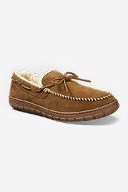 Men's Shearling-Lined Moccasin Slipper in Beige