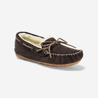 Women's Shearling-Lined Moccasin Slipper in Brown