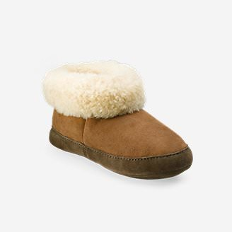 Women's Shearling Boot Slipper in Brown