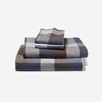 Portuguese Flannel Sheet Set - Plaids & Heathers in Brown