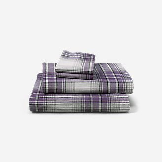 Portuguese Flannel Sheet Set - Plaids & Heathers in Purple