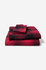 Portuguese Flannel Sheet Set - Plaids & Heathers in Red
