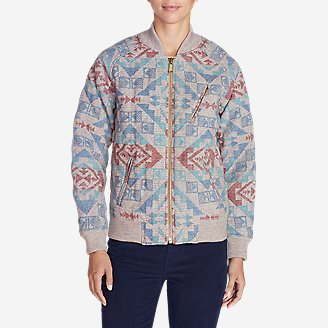 Women's Ilaria Blacktail Bomber Jacket - Pattern in Beige