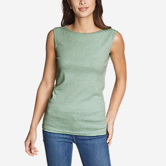 Women's Favorite Sleeveless Bateau Top in Green