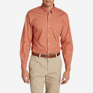 Men's Wrinkle-Free Pinpoint Oxford Relaxed Fit Long-Sleeve Shirt - Seasonal Pattern in Orange