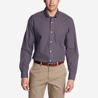Men's Wrinkle-Free Pinpoint Oxford Relaxed Fit Long-Sleeve Shirt - Seasonal Pattern in Purple