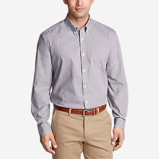 Men's Wrinkle-Free Pinpoint Oxford Relaxed Fit Long-Sleeve Shirt - Seasonal Pattern in Purple