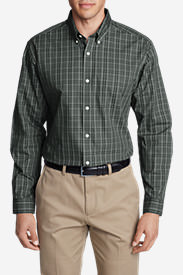 Men's Wrinkle-Free Pinpoint Oxford Relaxed Fit Long-Sleeve Shirt - Seasonal Pattern in Gray