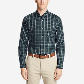 Men's Wrinkle-Free Pinpoint Oxford Relaxed Fit Long-Sleeve Shirt - Seasonal Pattern in Green