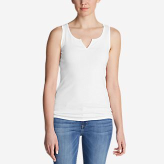 Women's Favorite Notched-Neck Tank Top in White