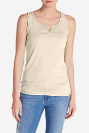 Women's Favorite Notched-Neck Tank Top in Beige