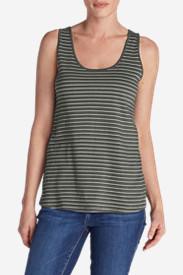Women's Everyday Jersey Keyhole Tank - Stripe in Green