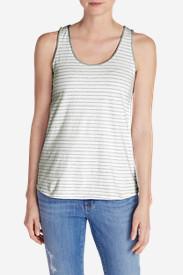Women's Everyday Jersey Keyhole Tank - Stripe in White