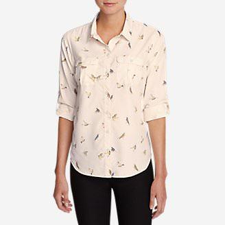 Women's Mountain Textured Long-Sleeve Shirt - Print in White