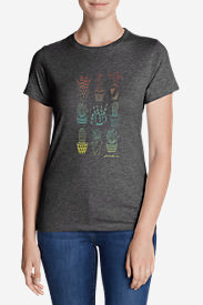 Women's Graphic T-Shirt - Ombré Succulents in Gray