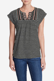 Women's Laurel Canyon Embroidered Top - Stripe in Black