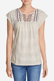 Women's Laurel Canyon Embroidered Top - Stripe in White